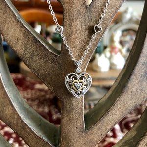 Sterling Silver & 14K Gold Filigree Heart Pendant
